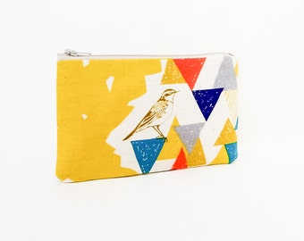 Small Pouch, Smalll Card Case, Fabric Pouch, Zipper Pouch, Coin Purse, Change Purse, Pouch, Japanese Import, Bird Pouch, Gold Pouch, Case
