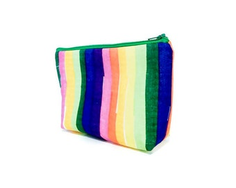 Rainbow Pouch, Zipper Pouch, Striped Pouch, Fabric Pouch, Japanese Import Pouch, Medium Pouch, Gift for Her, Pouch, Rainbow Color Stripes