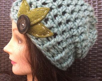 Sea foam Crocheted Slouch Hat 19/16