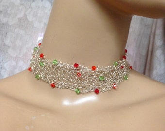 Crochet Knitted choker fine silver and Swarovski crystals-light green and orange necklace