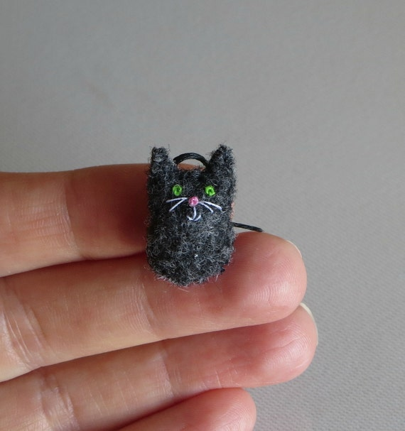 Black Cat micro miniature felt stuffed plush toy
