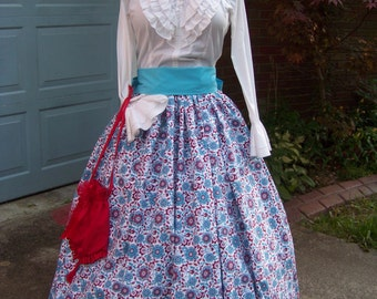 Colonial,Civil War,Victorian, Long SKIRT for camp dress one size fit all Large red, blue and teal floral print with blue or teal sash