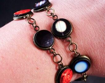 Planet Bracelet - Wrap Jewelry - Solar System - Antique Brass - Gift Idea