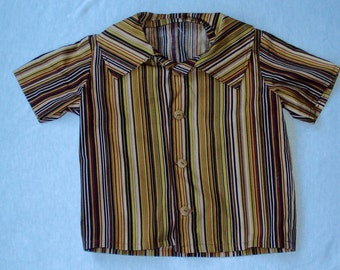 6-9 Month Boy's Short Sleeve Shirt, Brown Striped