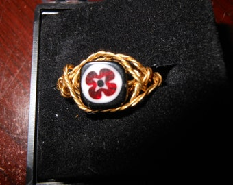 Wire Work Ring with Red White and Blure Size 6 Hand Made