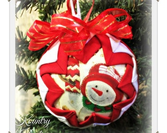 HANDMADE QUILTED Ornament/ Snowman ORNAMENT Made from Fabric/  (Ready to Ship)
