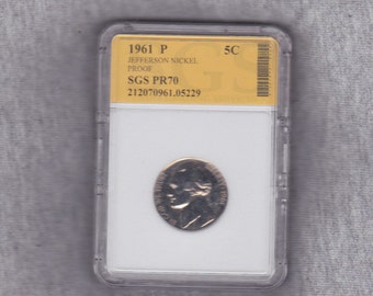 1961 P Jefferson proof nickel graded PR70 S.G.S.