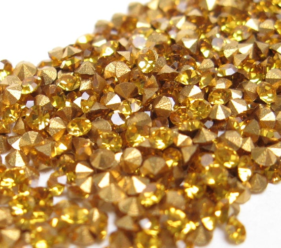 PRECIOSA Crystal RHINESTONES Machine-Cut Chatons CZECH 12pp 6ss Round Topaz Optima Point Back Jewelry Stones Parts A1100 36pc