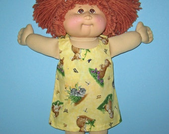 Cabbage Patch Kids, Doll Clothes, Dress Springtime Bunnies, Yellow, 16 inch dolls, Vintage Classic Cabbage Patch Doll