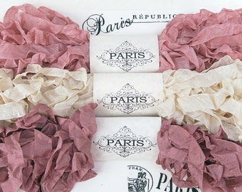 Shabby Crinkled Seam Binding Ribbon, Ivory, Pink, Rayon Ribbon, French Vintage,Scrapbooking,Doll Making, Crazy Quilting,Vintage Crest