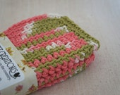 Dish Cloths, Cotton - Pink, Olive, and White - Crocheted 3 Piece Set