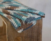 Cotton Dishcloths, Crochet.  Woodsy shadows. Teal, moss grey, and brown.