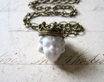 Kind Heart and Coronet - Antique Porcelain Doll Head with Crown Handmade Bronze Chain Necklace - Gift Box