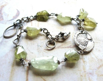 Tree Lover - Oxidized Sterling Silver and Green Garnet Artisan Handmade Wire Wrapped Gemstone Bracelet - Gift Box