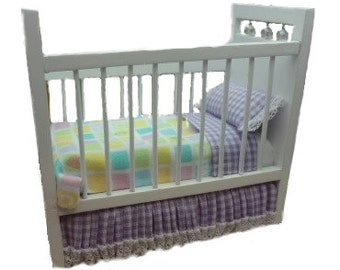 Miniature one inch scale lavender/white Teddy bear crib