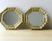 small vintage octagonal mirror gold gilt frame moroccan decor