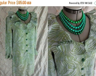 ON SALE 60s Dress // Vintage 1960s Light Blue and Green Swirly Paisley Print Dress with Ruffly Neckline and Cuffs Size L