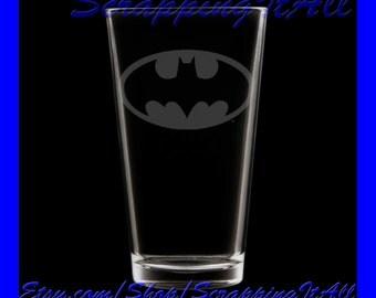 Bat Man Batman chest emblem on an etched drinking glass