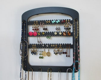 earring holder, Earring rack , jewelry rack,  posts , hooks  , hoops ,  wooden earring display,  11 pegs