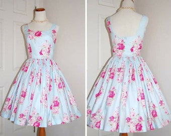 Vintage Style Dress - Audrey Hepburn Style - Cotton Roses - Bridesmaid Dress - Garden Party Dress