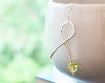 Yellow Ribbon Sterling Silver Necklace . Handmade Awareness Ribbon for Adenosarcoma, Osteosarcoma, Bladder Cancer survivor jewelry