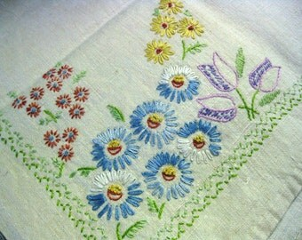 Vintage Embroidered Tablecloth With Floral Design In Each Corner