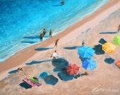 "Original 6""x8"" painting by Daina Scarola - Beach Umbrellas (summer, ocean art, beach art)"