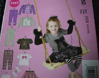 McCalls MP260 Toddler/Children's Tops, Skirt, Leggings and Arm Warmers in sizes 3-4-5-6 (uncut)