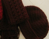 RESERVED FOR LUIGINEMO - Crocheted Fringed Scarf and Hat Set - Claret