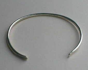 Sterling silver cuff bracelet, adjustable cuff with hammered texture