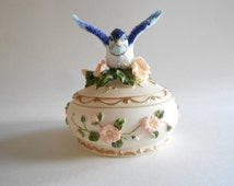 Blue Bird Music Box Trinket Dish Vintage Trinket Dish Jewelry Box Ivory Resin Let Me Call You Sweetheart Heritage House Songbird Treasures