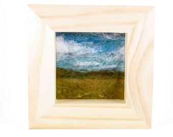 Needle Felted Landscape - Blue Skies & Prairie - Square Natural Wood Frame