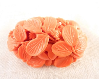 Vintage Japanese Faux Carved Coral Plants Oval Brooch