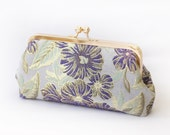 Personalized Gift, Bridesmaid Gift, Gold Thread Brocade Clutch Bag in Purple Green and Ivory  8-inches BROCADE