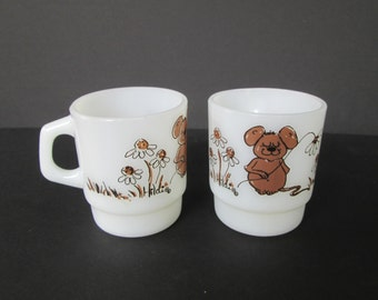 Fire King Hildi Mouse Mugs - set of two