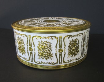 Large Round Gold and White Tin