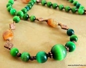 Emerald Green Cats Eye Necklace, Copper Jewelry, Celtic Jewelry, Handcrafted Jewelry, Green and Amber, Gemstone Jewelry