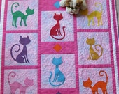 Polka Dot kitty cat quilt