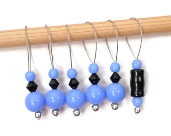 Stitch Markers, Blue, Black, Knitting, Beaded, Snag Free, Gift for Knitter