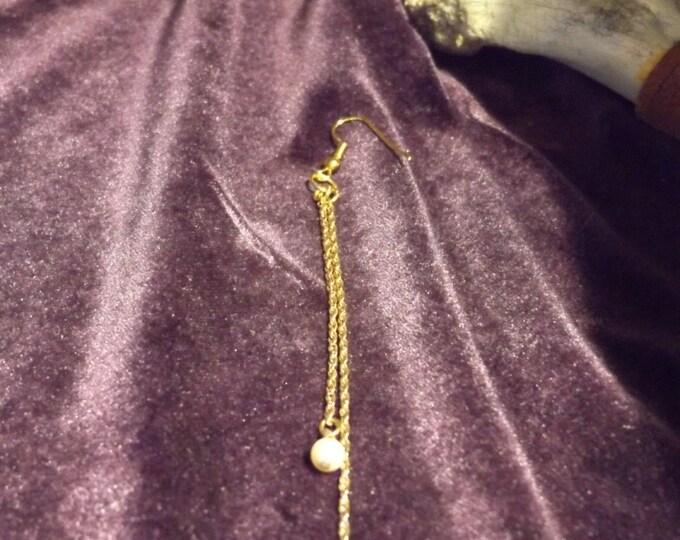 Single Earring, Healing jewelry, Goldtone, Long Chain Single Earring