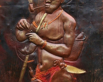 """African Copper Art Bearded Fisherman With Pipe  Congo  23.5"""" X 15.5"""""""
