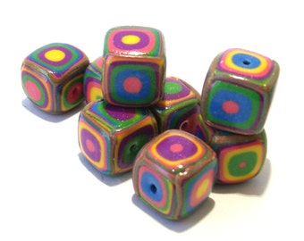 Square Handmade Beads - Polymer Clay - Klimt Pattern - Bright Summer Colors