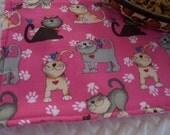 Pet Feeding Mat, Cat Feeding Mat, Pink Cat Mat, Pink Polka Dot Cat Mat, Pet Placemat, Fabric Placemat, Cloth Placemat, Paw Prints, Blue Bird