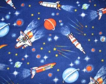 Space rocket stars planet universe fleece  blanket for baby or toddler