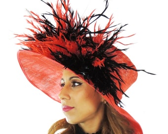 Black & Red Mimosa Hat for Kentucky Derby, Weddings