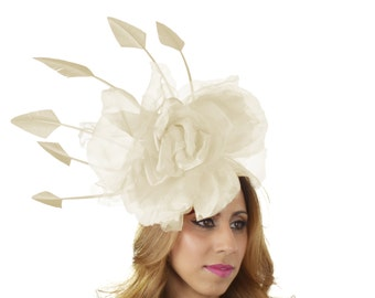 Cream Maradhoo Fascinator Hat for Kentucky Derby,Melbourne Cup, Ascot (other colors)