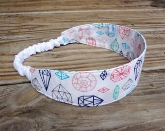Fabric Headband with Elastic: Colorful Gemstone Print on White Cotton