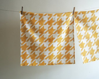 yellow ochre houndstooth hand block printed on white linen pillow case geometric modern home decor colorful decorative your choice of sizes