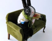 Original Needle Felted Near Black  Dutch Bunny with Tiny Teacup and Slice of Cake