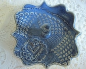 Antique lace Gift for Mom blue grey jewelry bowl, ring dish, ring holder